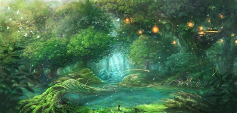 wallpaper anime landscape original anime forest landscape wallpaper 1875x900