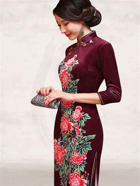 Sleeve Qipao burgundy velvet 3 quarter sleeve floral qipao