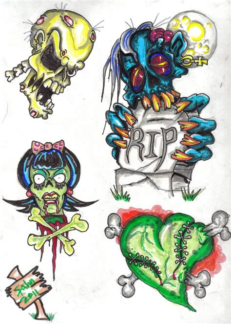 new new zombie tattoo flash pinterest