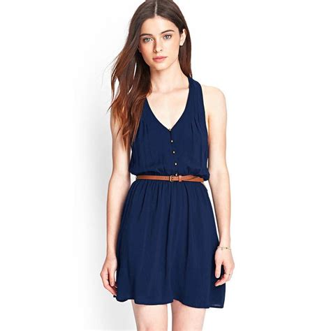 dress s blue casual with belt