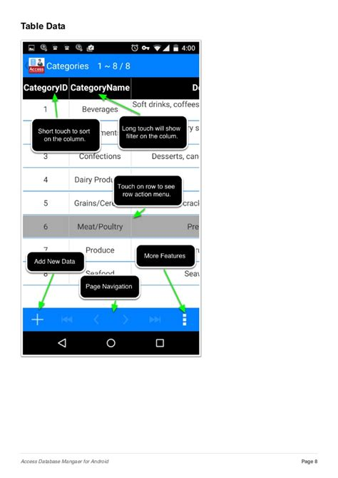 database for android access database mangaer for android