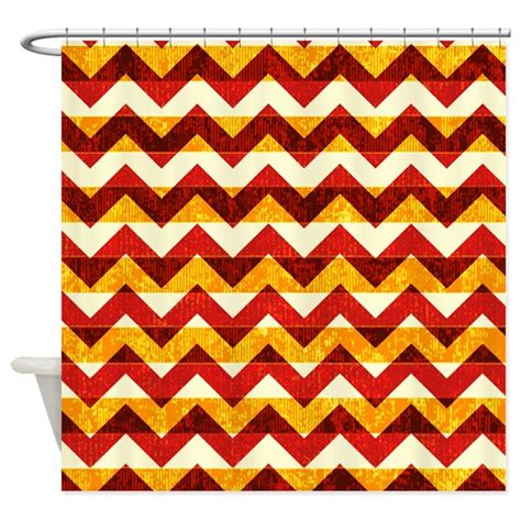 red chevron curtains orange and red chevron pattern shower curtain by poptopia1