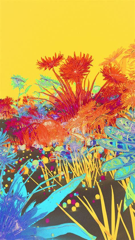 az flower art neon illustration art inverted wallpaper