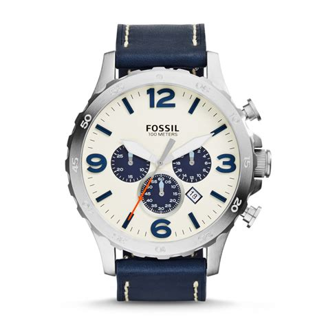 Nwt New Fossil Jr1480 Nate Chronograph Navy Leather Auth Murah fossil nate chronograph leather navy jr1480 fossil 174