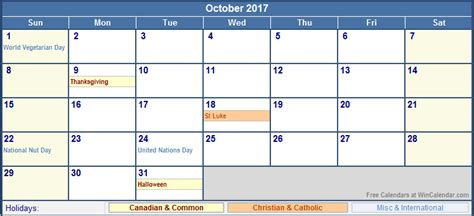 printable calendar october 2017 canada october 2017 canada calendar with holidays for printing