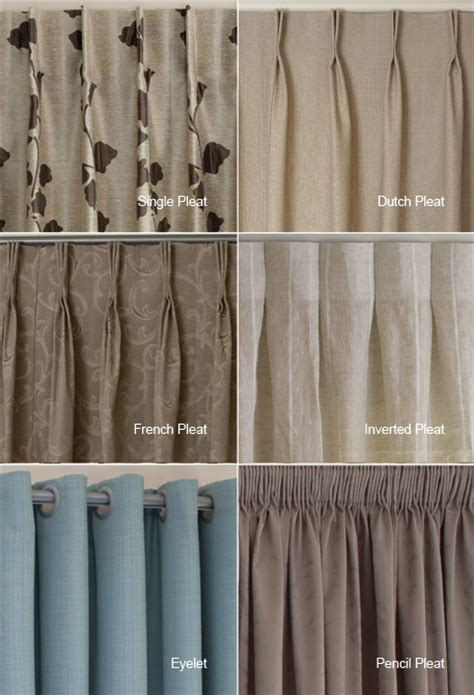 styles of curtains exles of the different heading types available i quite like the inverted pleat and single