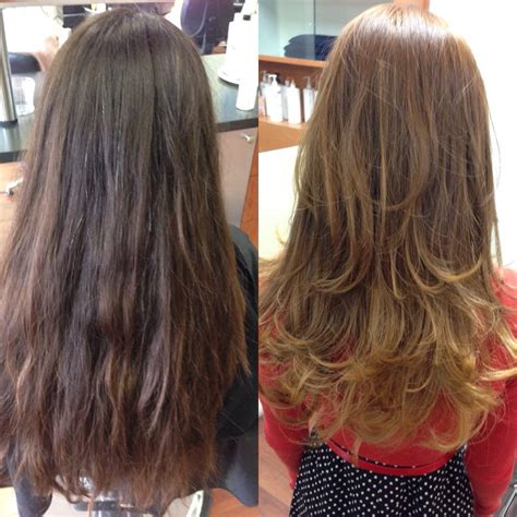 before and after layered haircuts before and after new lighter blonde base ombr 233