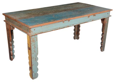 Reclaimed Wood Farmhouse Dining Table Rustic Farmhouse Reclaimed Wood Blue Kitchen Table