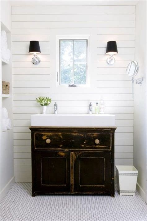 small white trough sink with classic vanity