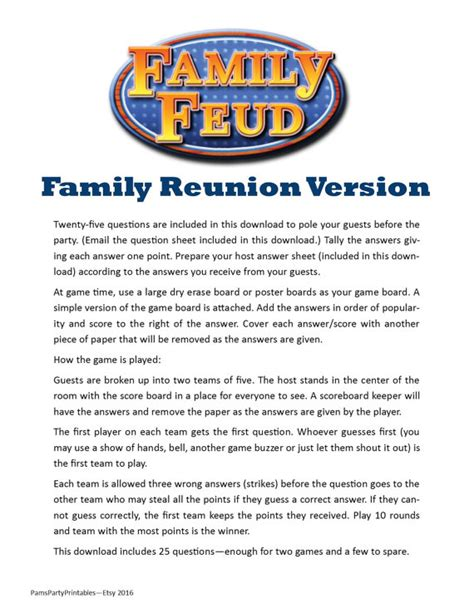 Playeat Boardgame Picknic family reunion family feud printable family picnic by pam s