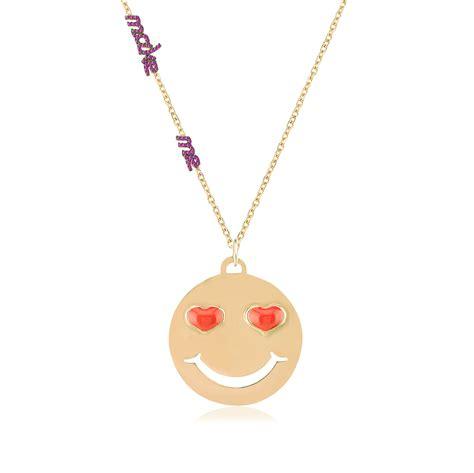 emoji necklace gold emoji necklace pink chick online