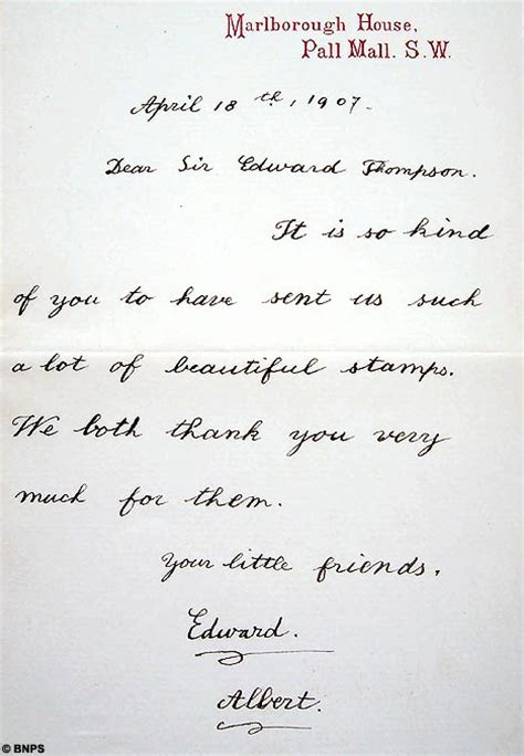 Touching Thank You Letter To Touching Collection Of Royal Thank You Letters From George V S Children To Go The Hammer