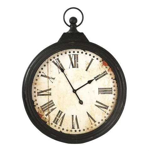 rustic clock rustic iron large pocket wall clock kathy kuo home