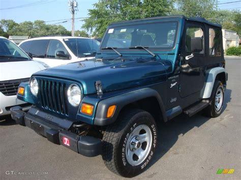 jeep sport green 1998 emerald green pearl jeep wrangler sport 4x4 31478605