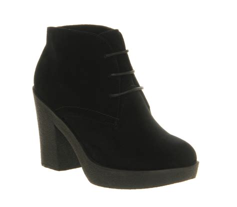 office bedlam lace up black suede ankle boots