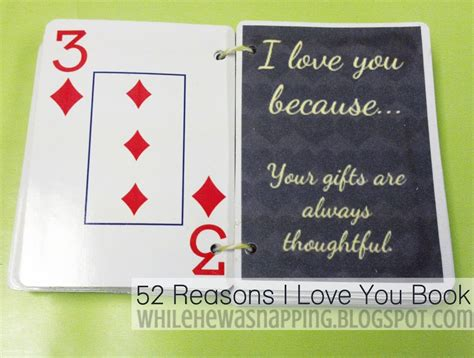 52 Reasons Why I Love You While He Was Napping 52 Reasons I You Template Free