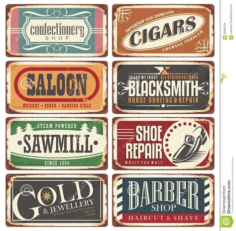 Vintage Shop Signs Collection Stock Vector   Image: 59562544