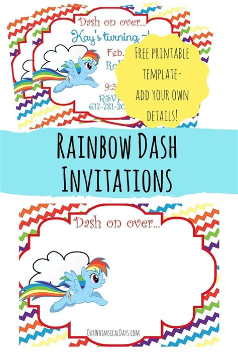 so cute free rainbow dash party invitations perfect for