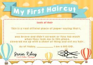 my haircut certificate template kid s haircut certificate on behance