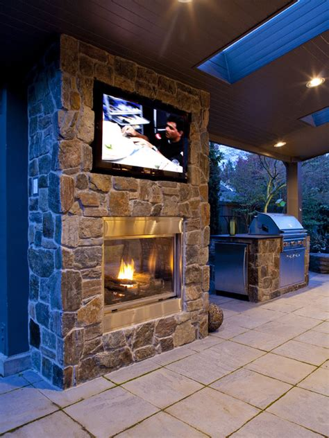 Tv Gas Fireplace Ideas by Tv Above Fireplace Patio Design Ideas Pictures Remodel