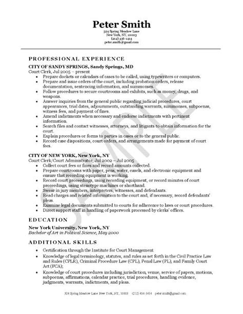 Court Clerk Resumes by Court Clerk Resume Exle Resume Exles Cpa