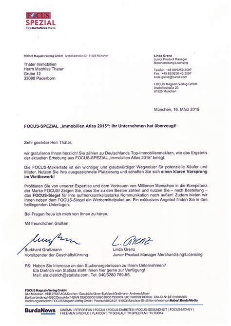 Anschreiben Adrebanderung Firma Das Focus Magazin Empfiehlt Thater Immobilien Als Makler F 252 R Paderborn Immobilienmakler