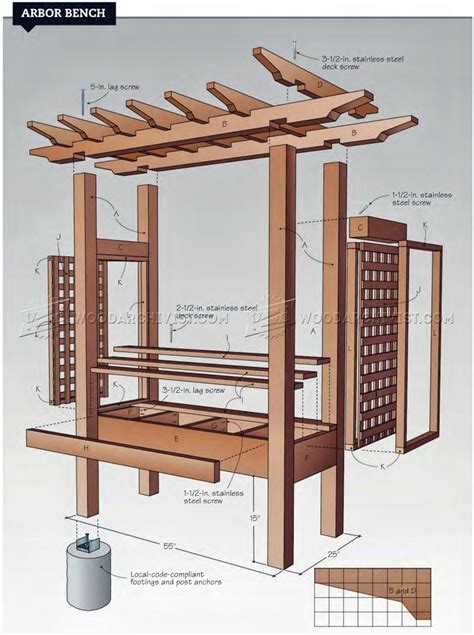 arbor with bench plans arbor bench plans woodarchivist