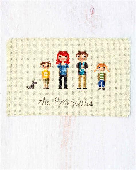 Halloween Baby Crafts - cross stitch family portrait martha stewart