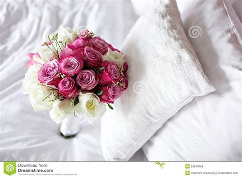 Wedding On Bed by Wedding Bouquet Flower On Bed Stock Photo Cartoondealer