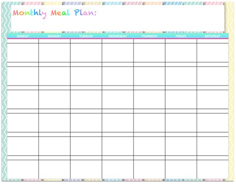 templates monthly menu planners housewife modern