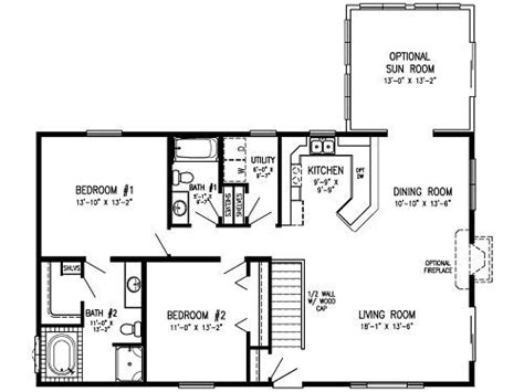 2 Bedroom House Plans With Open Floor Plan by 2 Bedroom Modular Floor Plans Concept Level Laundry
