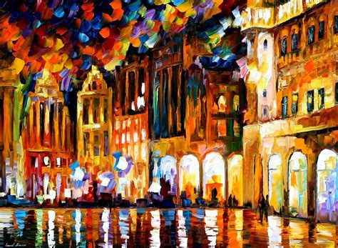 paint places brussels grande place palette knife oil painting on