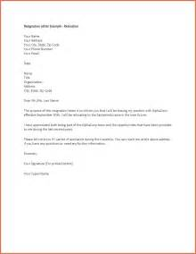 Exle Letter Of Resignation Professional by Exles Of Letter Of Resignation Bio Exle
