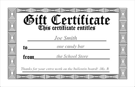 gift free customizable printable certificates