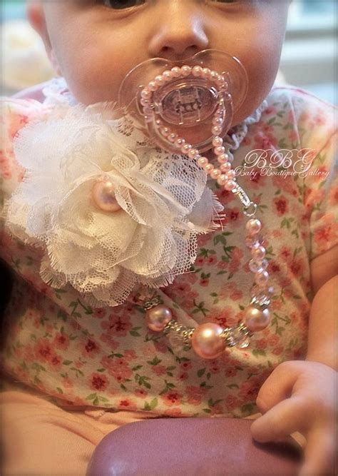 4in1 Set Chic baby boutique 4 in 1 beaded pacifier holder shabby chic
