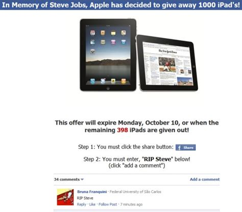 Ipad 1000 Gift Card Scam - facebook and websense partner up to combat malware