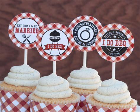 I Do BBQ Cupcake Toppers I Do BBQ Decorations I Do BBQ