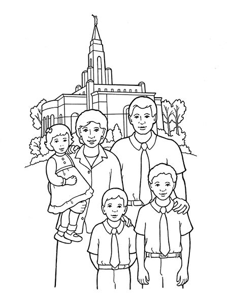lds coloring pages families can be together forever temple sealing family