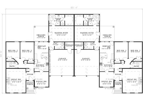 multi family home floor plans la belle park ranch duplex plan 055d 0358 house plans