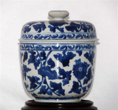 blue and white porcelain kangxi blue and white porcelain lidded jar by kangxi qing