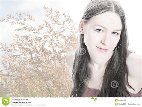 how skin looks straight after portrait on bent grass background royalty free