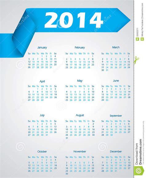 calendar ribbon design blue ribbon calendar design for 2014 stock image image