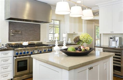 small white kitchen with steel hood thomas o brien bryant billiard light transitional