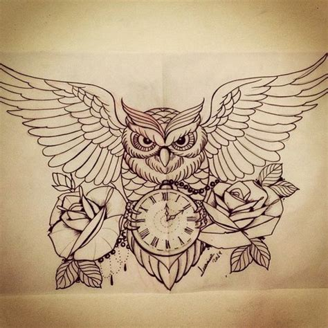owl with roses tattoo awesome owl drawing by ℒaura whi