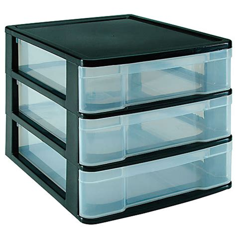 three drawer desktop storage chest black in storage drawers
