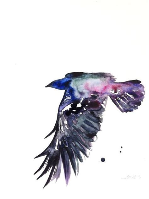 watercolor tattoo raven flying with purple watercolor effect design