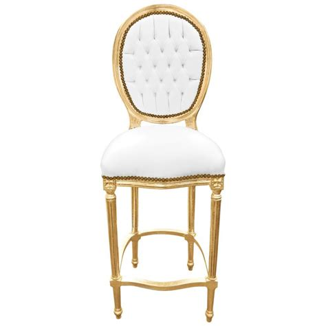 Chaise Bar Bois by Chaise De Bar Style Louis Xvi Simili Cuir Blanc Et Bois Dor 233