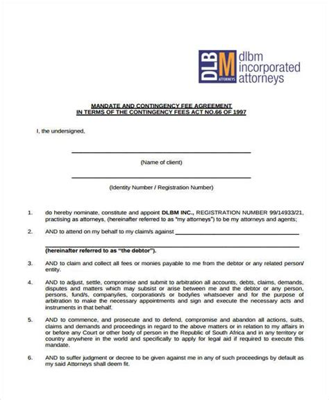 contingency fee agreement template 8 contingency fee agreement form sles free sle