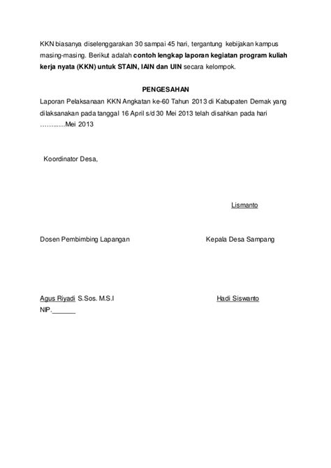 format laporan individu kkn contoh laporan individu kkn contoh sur
