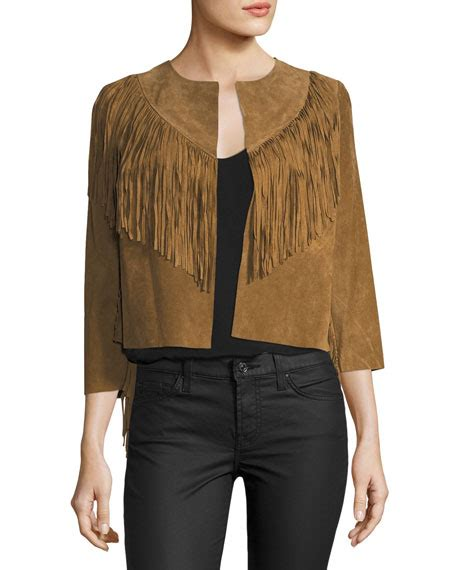 Fringed Cropped willow clay fringed trim cropped suede jacket